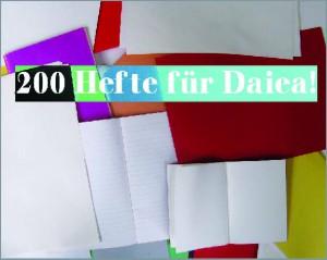200 Hefte für Daiea (Dani)! Schreibheftaktion für Flüchtlingskinder.