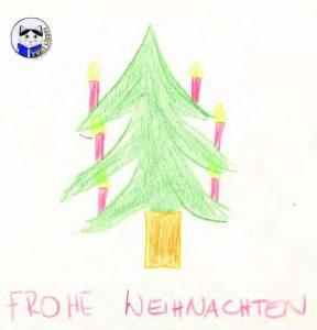 Weihnachtswünsche von Yuki mit einer Kinderzeichnung.